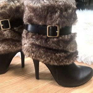 Chocolate faux fur Bootie